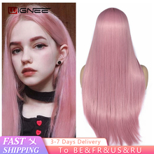 Synthetic-Wig Wig Pink Straight Hair Wignee Glueless Women Cosplay Long Middle-Partdaily/party