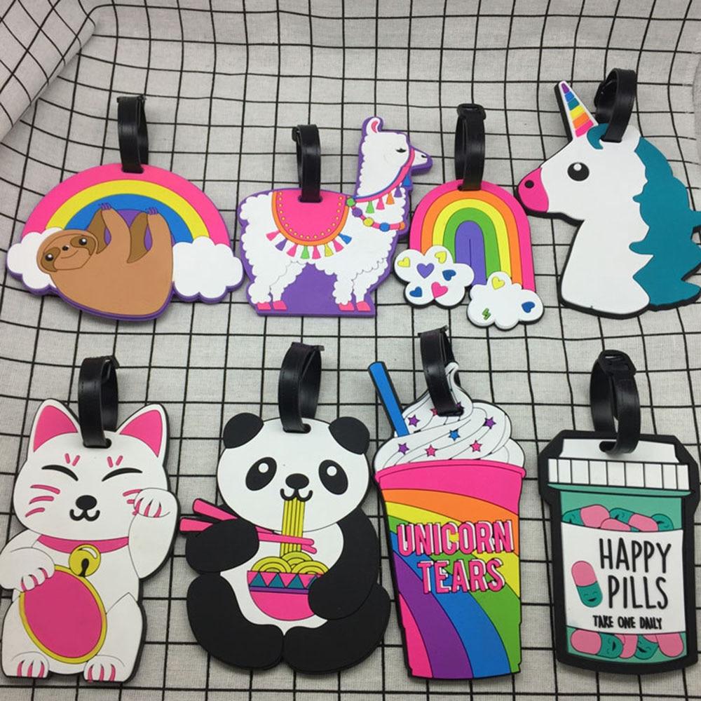 Travel Accessories Panda Creative Luggage Tag Horse Cartoon Silica Gel Suitcase ID Address Holder Baggage Boarding Tags Portable
