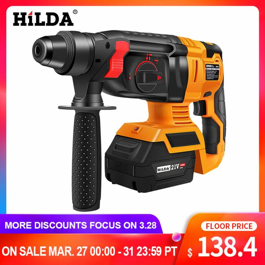 HILDA Electric Rotary Hammer Cordless Power Impact Drill With Lithium Battery Power Drill Brushless Electric Drill Power Drill