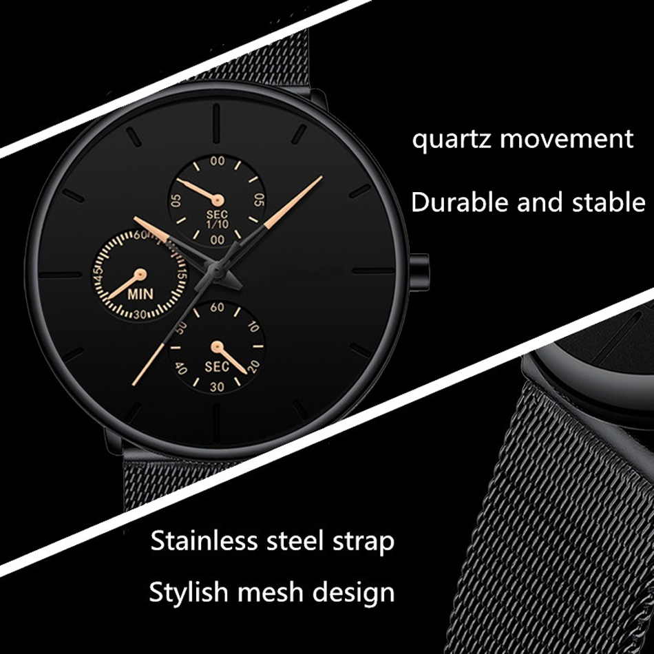 Hdaff00f16c014049920cc81c3746a011i Mens Watches Male Luminous Quartz Watch Casual Slim Mesh Steel Waterproof Sport Watch 2020 Gift Relogio Masculino kol saati