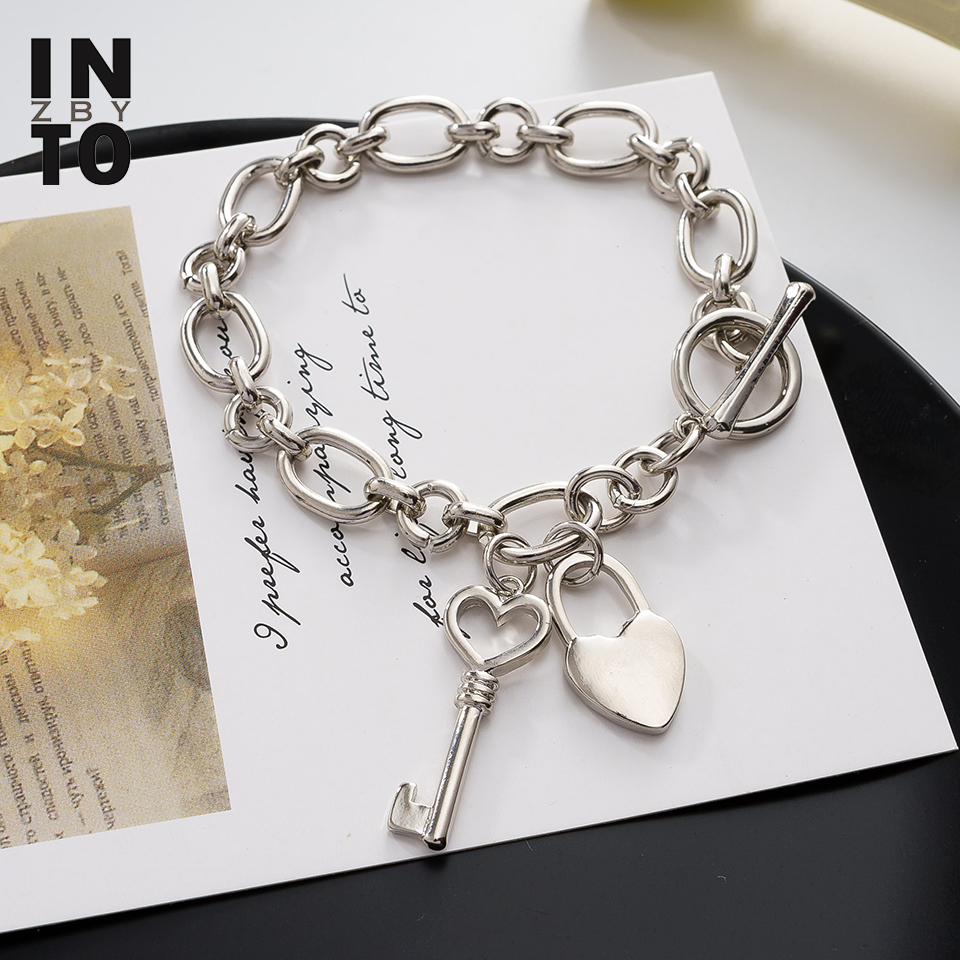Into zby Lock and Key Jewelry Heart Charm Bracelets Punk Round Link Chain Bangle for Women Fashion Jewelry 2020 ZA браслет(China)