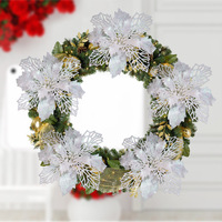 Artificial Flowers Christmas Tree Ornament Wreath Gift Party Decor DIY Home Wedding Decoration Flower Head Christmas