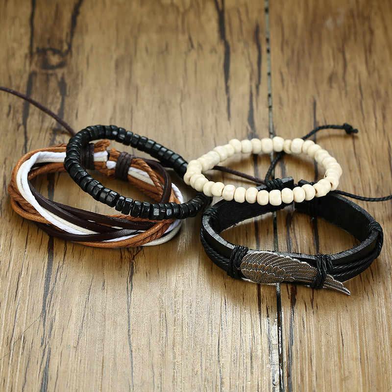 Modyle 4pcs/set Genuine Leather Bracelets Male Jewelry Vintage Classic Retro Charm Bracelet Bangles for Man