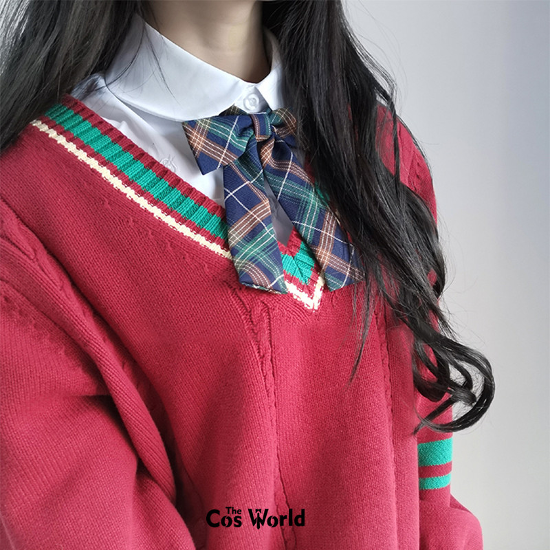 Christmas XMAS New Year Autumn Winter Red Long Sleeve Knit Tops Pullovers V Neck Sweaters For JK School Uniform Student Clothes