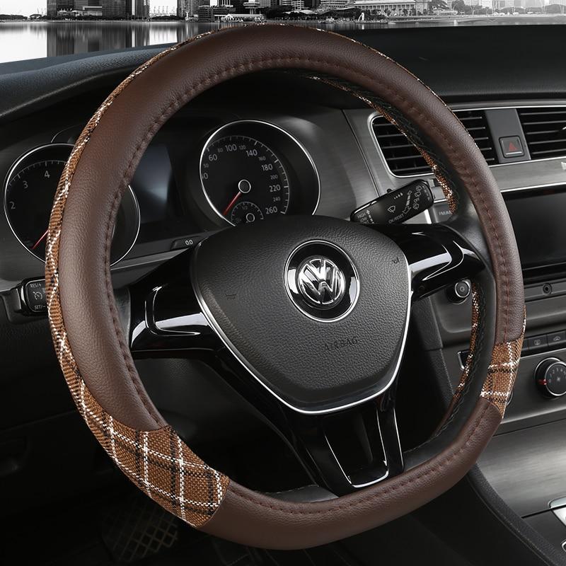 D образный кожаный чехол рулевого колеса автомобиля четыре сезона