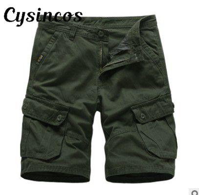 CYSINCOS Men's Shorts Trousers Zipper Male Summer Beach Casual Knee-Length New Slim