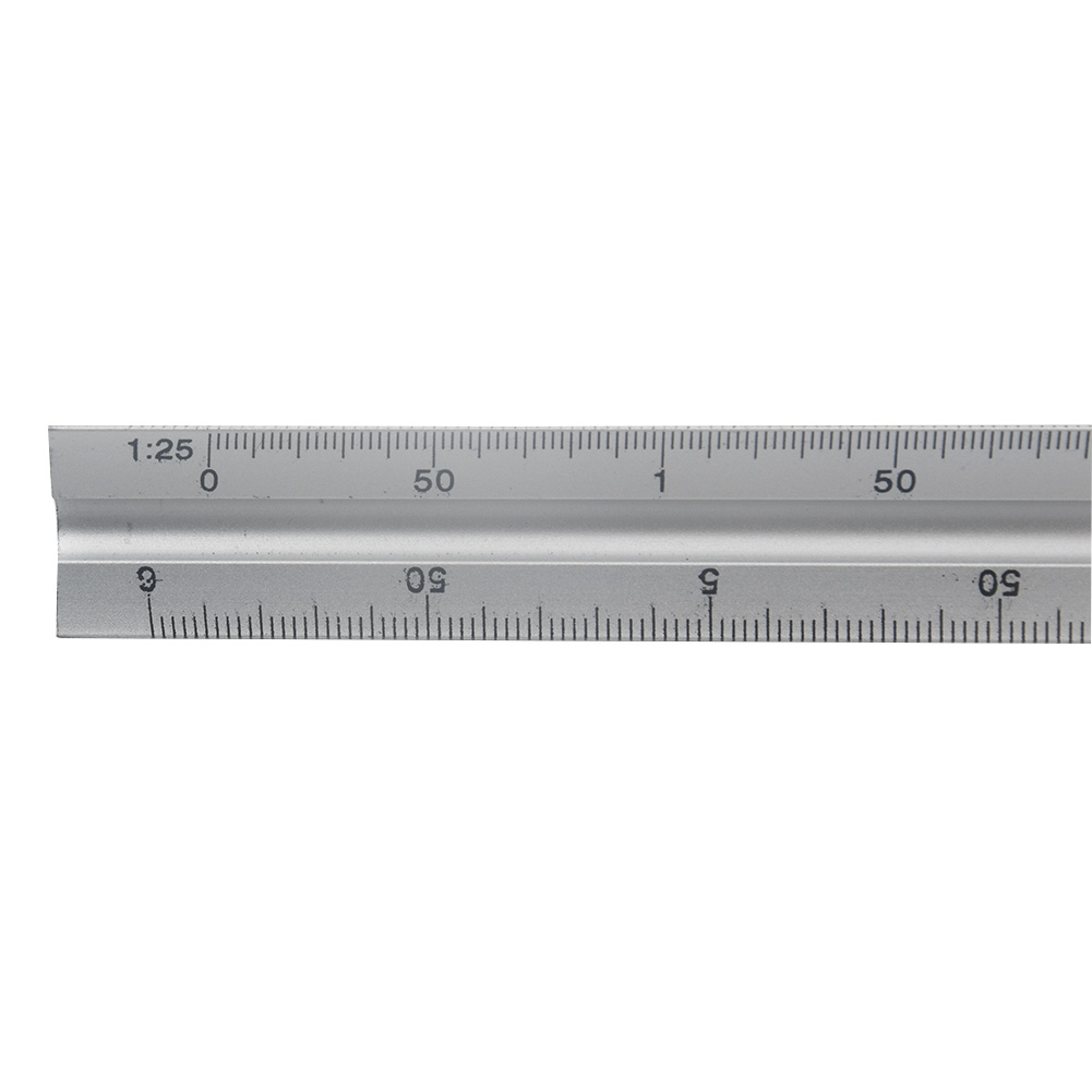 30cm Engineer Architect Scale Triangle Clear Ruler Accurate Silver Aluminum Alloy Technical
