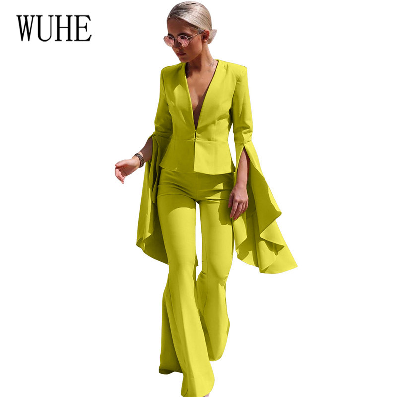 WUHE Two Pieces Sets Casual Solid Women Pant Suits V-neck Blazer Jacket & Wide Leg Pant Female Suit Autumn High Quality