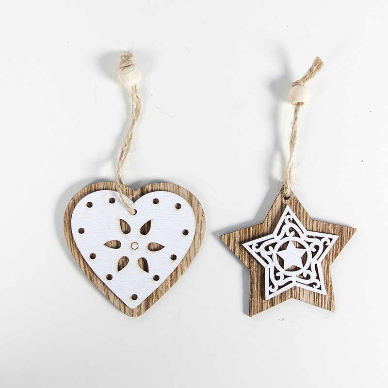 2 sztuk boże narodzenie dekoracji rzemiosło drewniane gwiazda serce Elk anioł dzwonek świąteczny zawieszka na choinkę ozdobne wisiorki dekoracje świąteczne