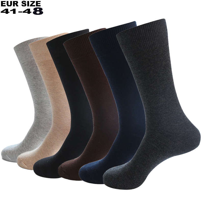 2020 Men's Dress Socks Cotton Men Business Compression Long Socks Winter High Quality Gentleman Sokken 6 Pairs Plus Size EU41-48