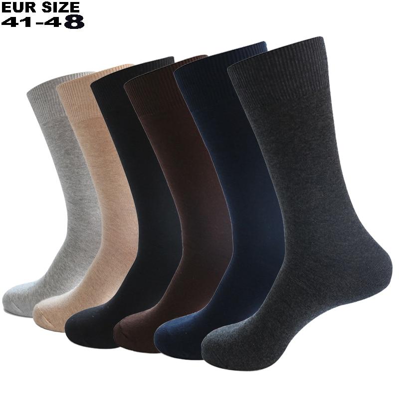 2020 Men's Dress Socks Cotton Men Business Compression Long Socks Winter High Quality Gentleman Sokken 6 Pairs Plus Size EU41-48