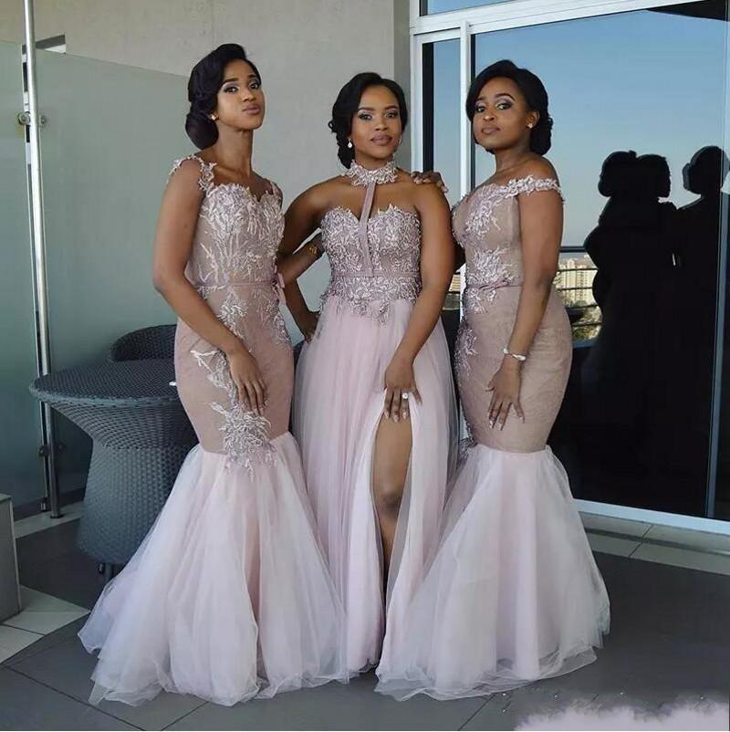 Африканские длинные платья подружки невесты с кружевной аппликацией, тюль, смешанный стиль, с открытыми плечами, свадебное платье для госте... - 2