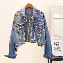 Vintage Women Jean Jacket Witrh Pearls Beading 2019 Spring L