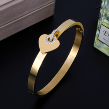 New Arrival Women Cuff Bangles Luxury Stainless Steel Fashion Heart Women Bracelet Jewelry new arrival spring wire line colorful titanium steel bracelet stretch stainless steel cable bangles for women