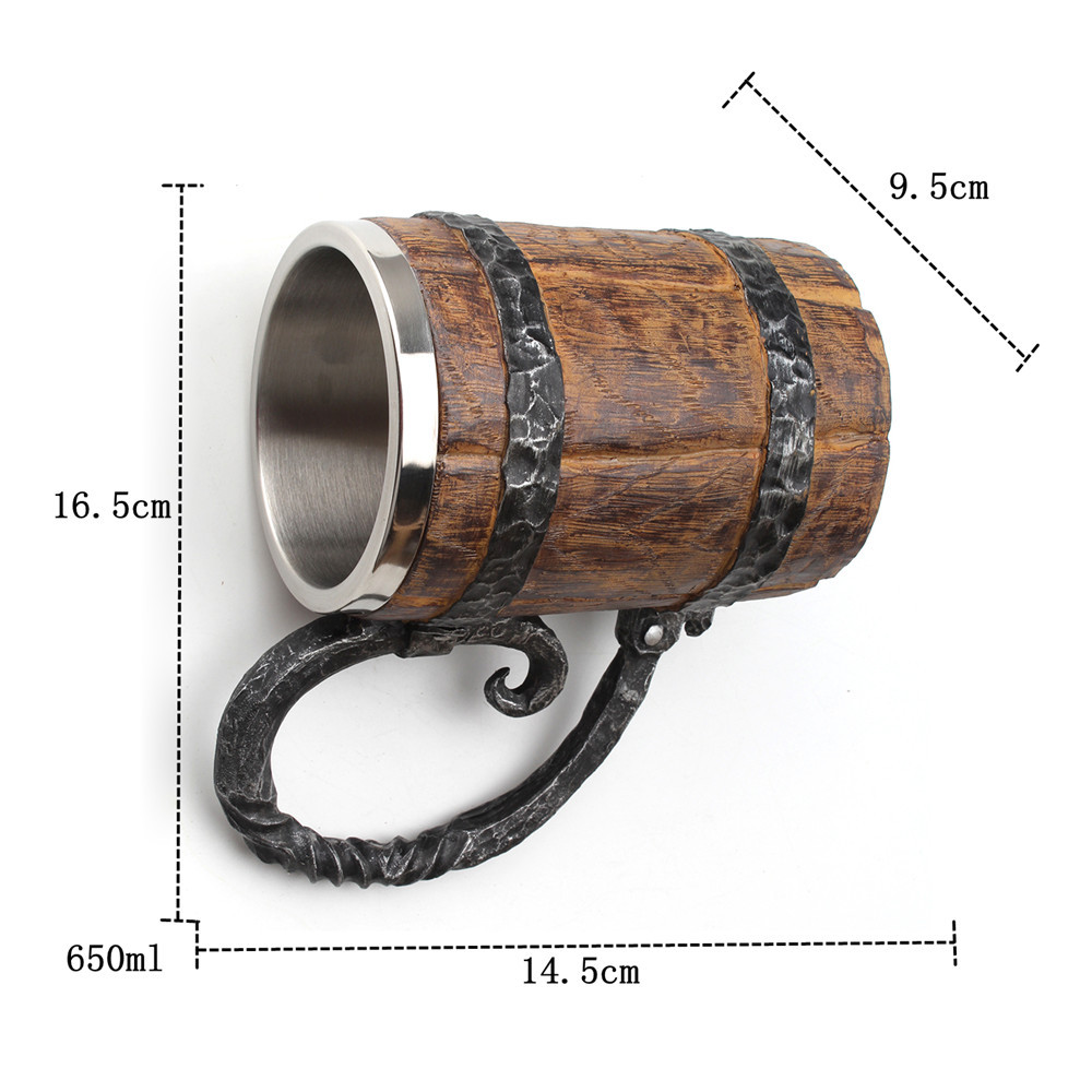 Stainless Steel Resin Beer Mug in Wooden Barrel 5