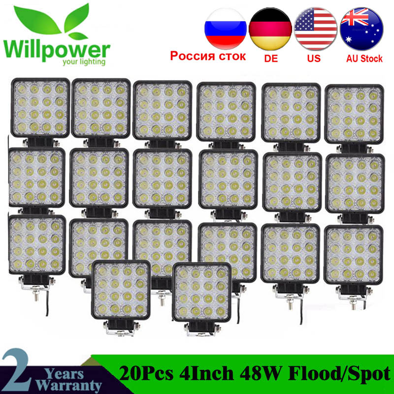 20 PCS High Power IP67 Waterproof Offroad 4x4 Led Driving Light Truck Tractor Flood Beam 48w Led Work Light 12v