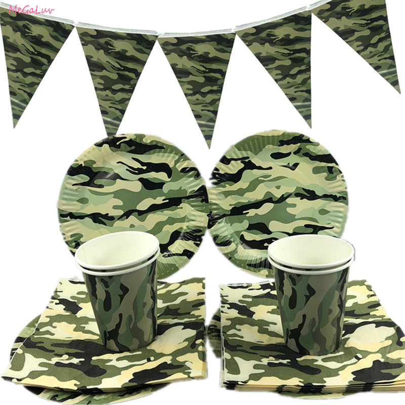 Army Green Camouflage Disposable Tableware Military Theme Paper Plates Cups Napkins Kids Birthday Party Supplies