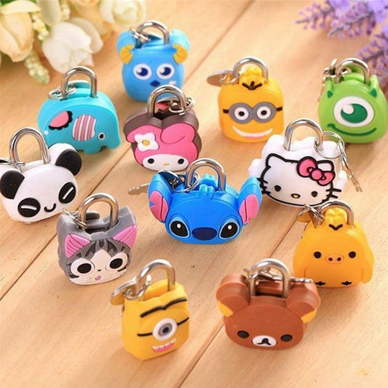 Mini Cartoon Padlocks Key Lock For Zipper Bag Backpack Drawer Cabinet/Tiny Craft Diary/Toy/Stationery Box Hand Bag Luggage Locks