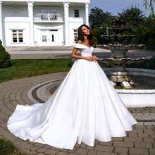 Wedding Gowns Elegant White Stain Dress Off Shoulder Bride Plus Size Ball Gown Vestido Noiva
