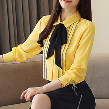 Front bow tie Long-sleeved chiffon shirt spring dress new  womens clothing solid white red bottom 683A7