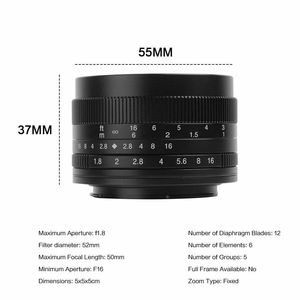 Image 2 - 7artisans 50 мм F1.8 ручной объектив для камеры Canon EOS M A7 A7II A7R Sony E Mount Fuji FX Macro MFT/ M4/3 Mount Бесплатная доставка