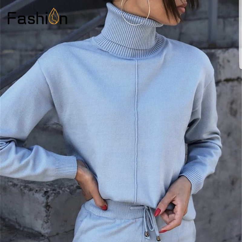 Women's Sweater Two Piece Suits And Sets Turtleneck Long Sleeve Knitted Sweaters+Pockets Long Trousers 2PCS Sets Winter Costume