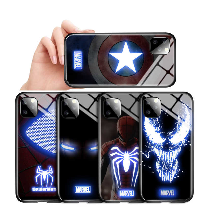 Untuk Iphone 6 7 8 Plus X XR XS X Max 11 Pro LED Berkedip Marvel Avengers Case Ironman Spiderman veno Tempered Kaca Penutup