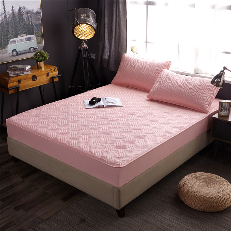 ADOREHOUSE Cotton Wave Shape Mattress Protector Breathable Waterproof Mattress Cover Embossed All-inclusive Fiber Topper Pad image
