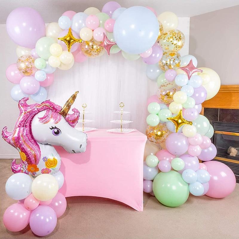 DIY Пастель единорог с радугой воздушным шаром арочный комплект День рождения шары для девочек гирлянды Baby Shower украшения конфетти в виде зве...