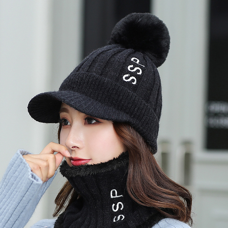 Women's Hat And Scarves Set Winter Warm Three Pieces Kitted Wool Winter Hats For Women Scarf Beanie Winter Women's Hat