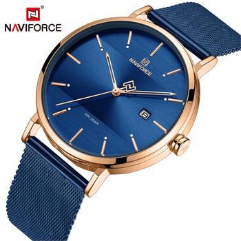 NAVIFORCE 3008Top Brand Luxury Stainless Steel Strap Wristwatch for Women Rose Clock Stylish Quartz watch