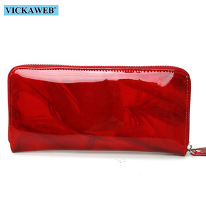 Image 3 - VICKAWEB Shiny Genuine Leather Women Wallets Zipper Card Holder Solid Purses Female Long Wristlet Wallet Ladies Coin Purse AL38