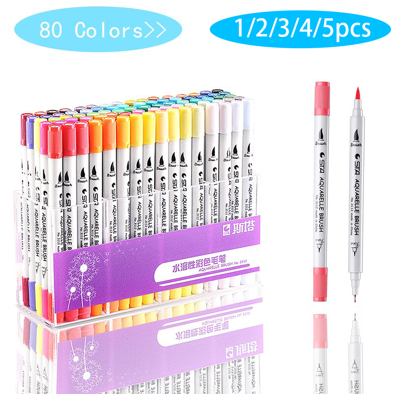 5/4/3/2/1pcs Single Art Markers Brush Pen Sketch Alcohol Based Markers Dual Head Manga Drawing Pens Art Supplies