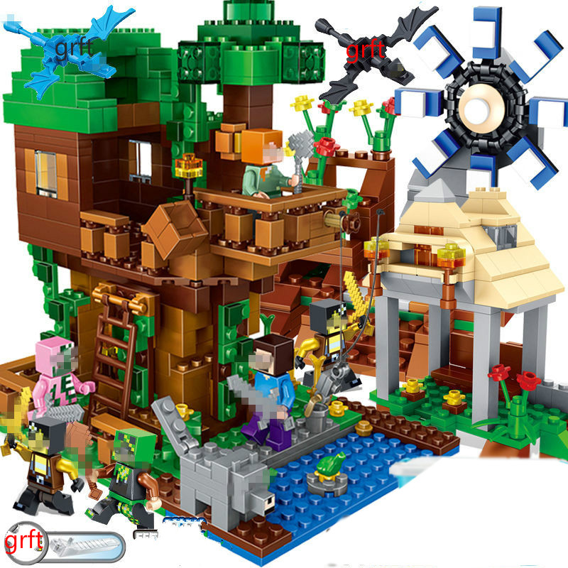 2019 New Steve Compatible Legoinglys Playmobil Mountain Cave Light My Minecrafted Worlds Elevator Bricks Toys For Children
