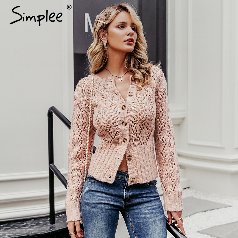 Simplee Hollow Out Crohect Knitted Cardigan Sweater Women Winter Lady Sweater Long Sleeve High Waist Female Outwear Jumper 2019