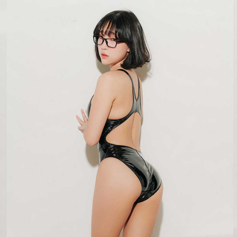 DROZENO-maillot de bain une pièce avec collants sexy, couleur unie, Cosplay japonais, pour filles