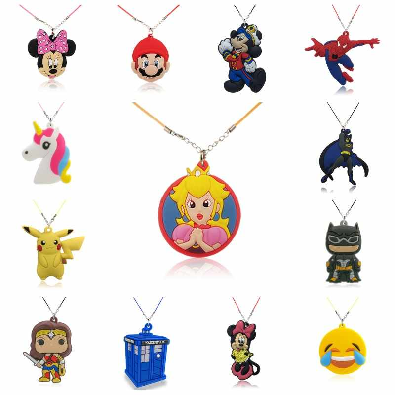1pcs Mickey Avenger Cartoon Figure Necklace Super Mario PVC Charm Choker Rope Chain Fashion Accessories Kids Party Gift