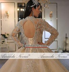 Image 3 - Amanda Novias 2020 brand gold wedding dress real work high quality dubai wedding dresses not with veil
