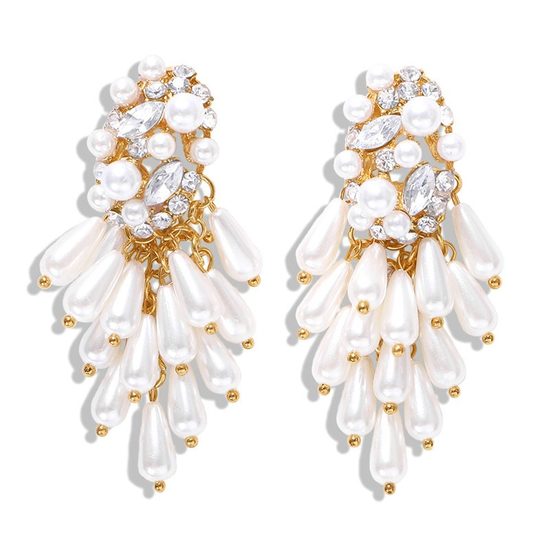 2019 Korean New Fireworks Design Simulated Pearl Flower Big Earrings Water Drop Women Bride Wedding Jewelry