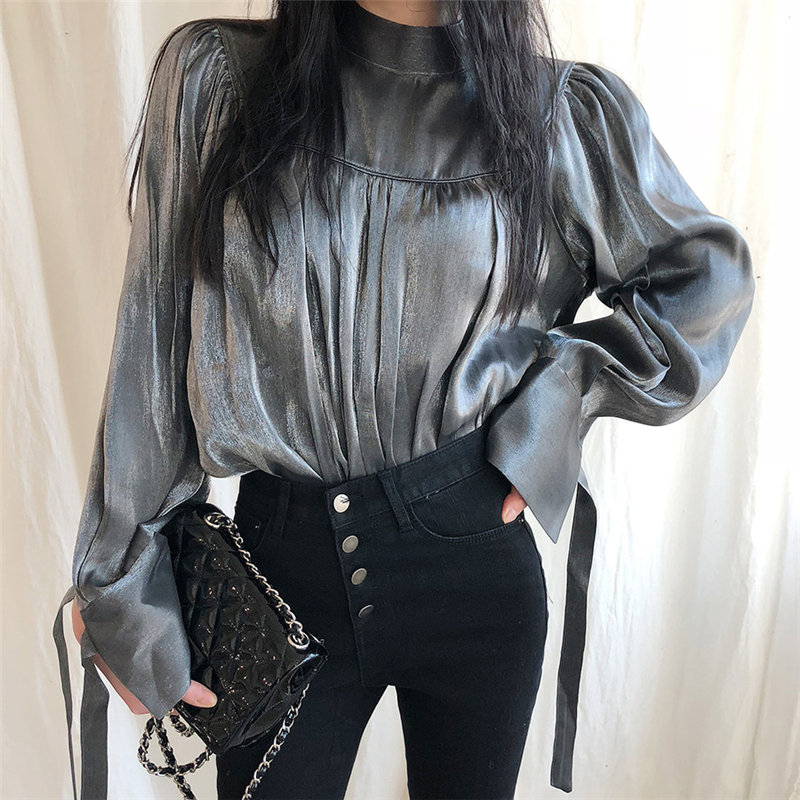 HziriP Brief Stylish Women Plus All Match 2020 Chic Stand Split Blouses Lace-Up Sweet Fashion Loose Casual Office Lady Shirts
