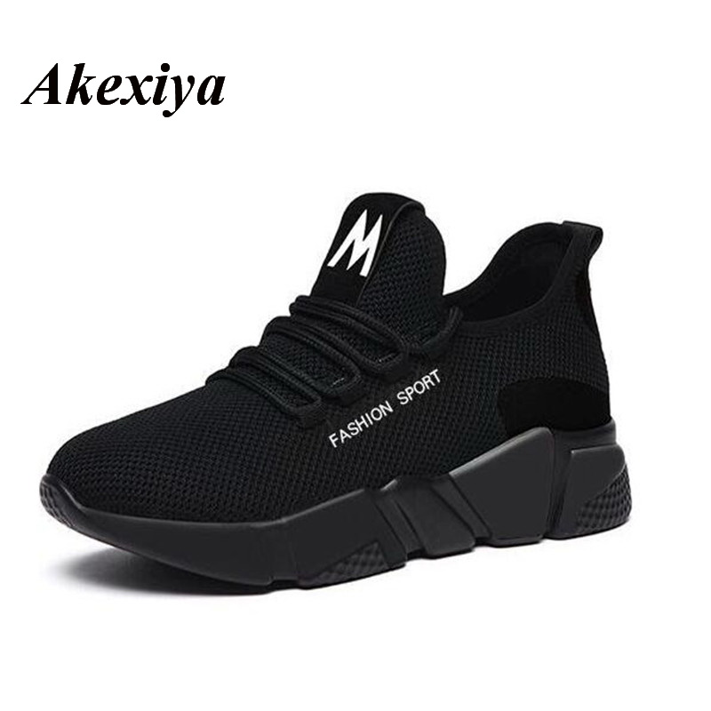Akexiya 2019 Spring New Women Running Shoes Fashion Breathable Lightweight Walking Mesh Lace Up Flat Shoes Sneakers Women