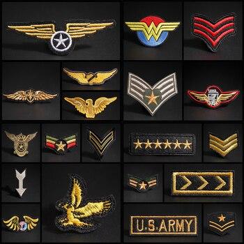 Parches bordados militares dorados de rango militar, charreteras militares para ropa táctica Moral, Logo del ejército, apliques de planchar en la insignia de la ropa