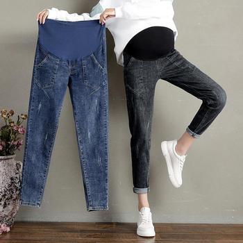 Jeansy ciążowe dla kobiet w ciąży spodnie ciążowe ubrania ciążowe wiosna jesień spodnie jeansowe w pasie czarny niebieski tanie i dobre opinie CN (pochodzenie) WOMEN Denim Elastyczny pas Macierzyństwo Naturalny kolor Medium Proste COTTON spandex