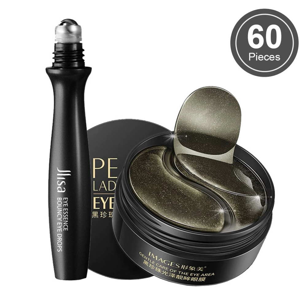Gel colágeno preto pérola olho remendos hidratante natural olhos máscaras remover círculos escuros anti idade saco rugas 60pcs cuidados com a pele