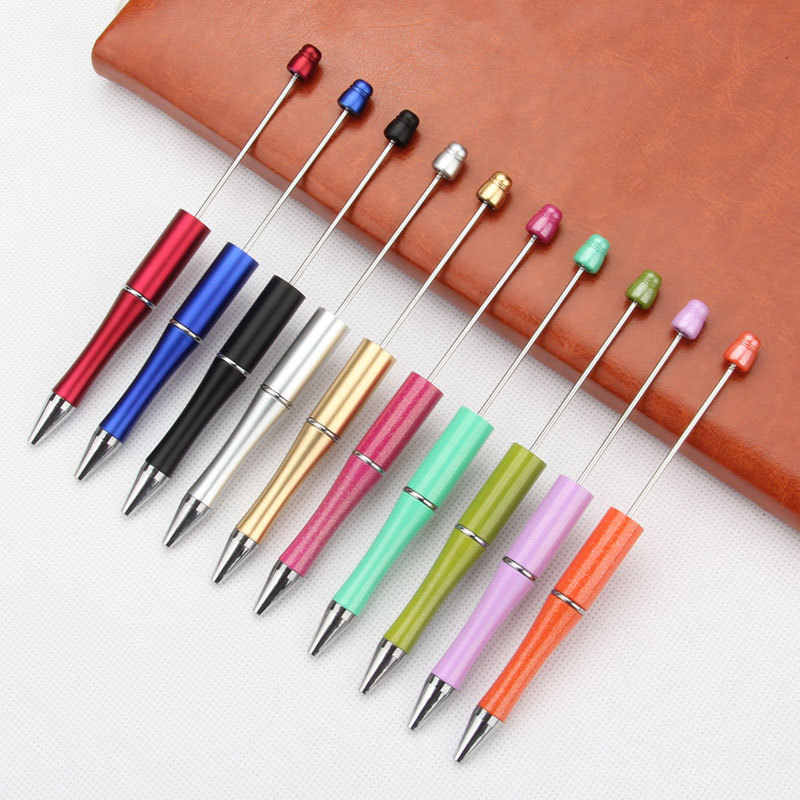 10 قطعة/الوحدة البلاستيك الخرز القلم حبة أقلام قلم حبر جاف هدية الكرة القلم كيدسبارتي شخصية هدية الزفاف هدية للضيوف