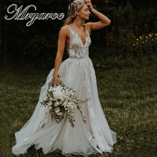 Mryarce vestido de novia gris con apliques florales de encaje, cuello en V, elegante, plateado, espalda descubierta