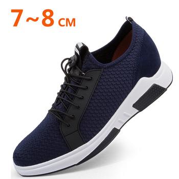 Trampki męskie buty buty na koturnie buty podnoszące wysokość zwiększ buty męskie buty wysokość buty 7-8CM tanie i dobre opinie HOMASS Mesh (air mesh) Przypadkowi buty RUBBER Slip-on Pasuje prawda na wymiar weź swój normalny rozmiar Podstawowe Wiosna jesień