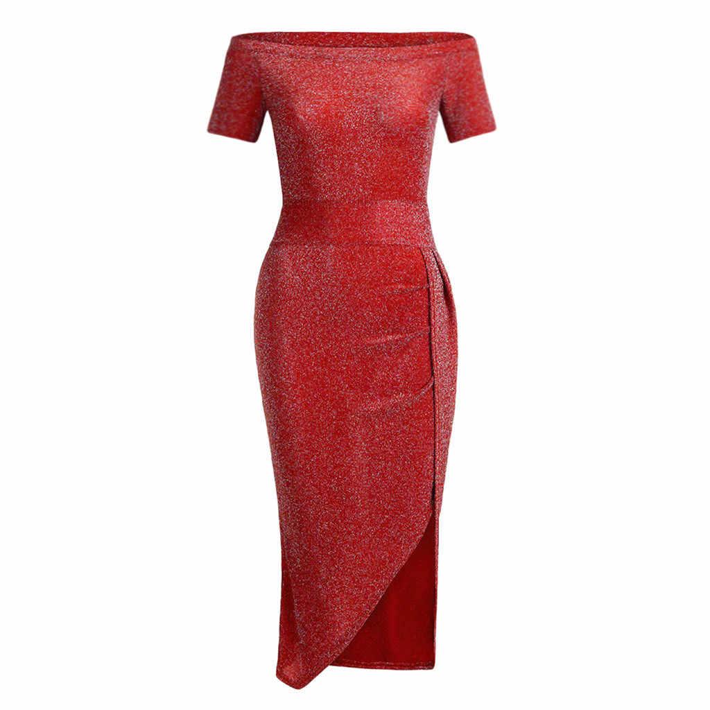 Elegante Vrouwen Jurk Off Shoulder Party Dress Hoge Cut Korte Mouwen Jurken Vestidos Vestidos Verano 2019 Mujer # Sw