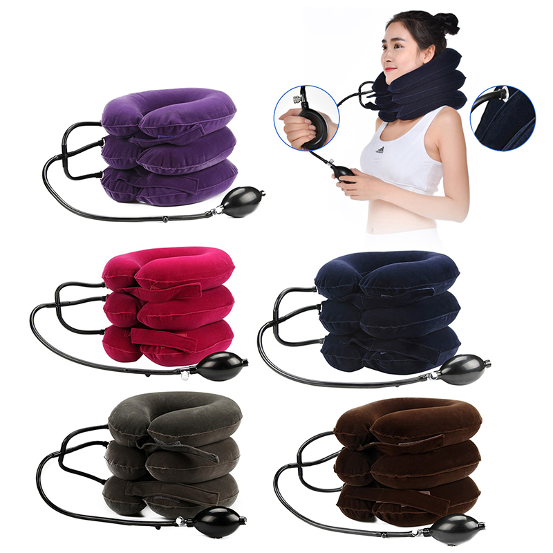 3 Layer Inflatable Air Cervical Traction Device Medical Correction Device Therapy Tool For Neck Head Stretcher Pillow Pain Relie
