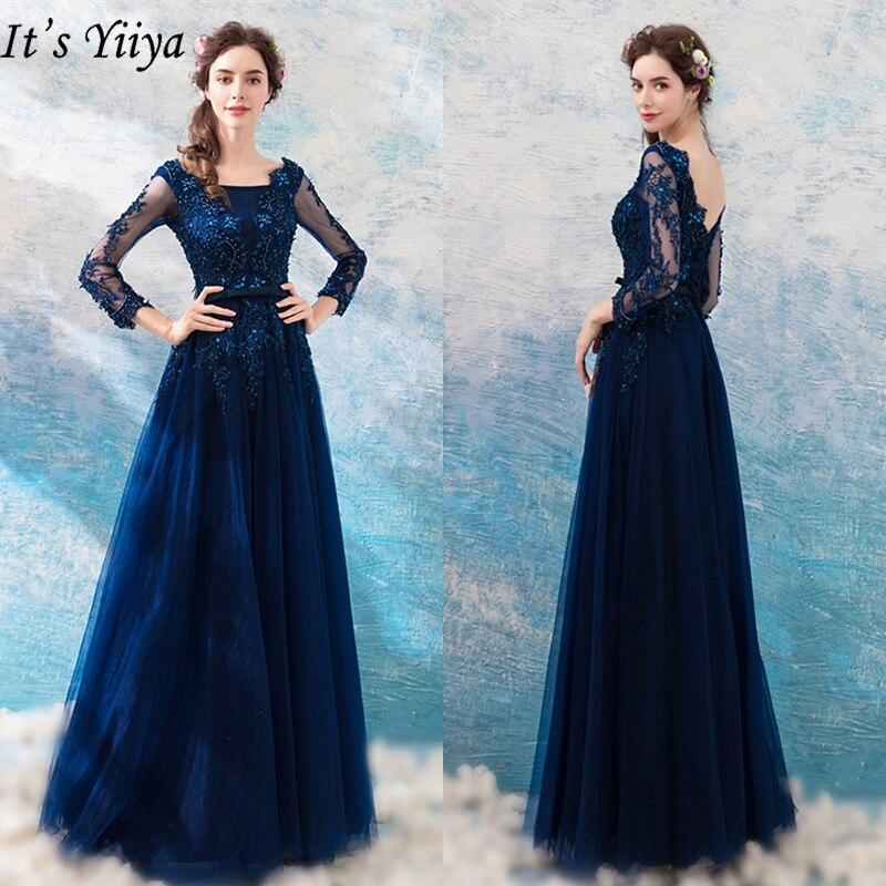 C'est Yiiya robes de soirée 2019 à manches longues de luxe fleur broderie longueur de plancher robes Sexy dos nu Slim robe formelle LX276